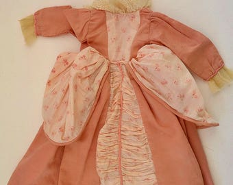 Vintage Antique French-made 1900 JUMEAU DRESS Marie Antoniette-inspired Printed Cotton Ruched Lace Robe à Paniers Genuine S.F.B.J Doll