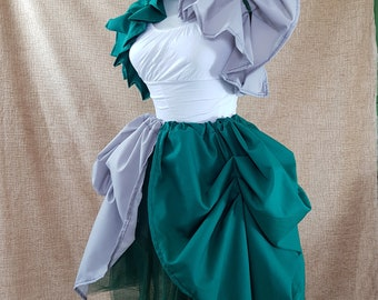 Witch Wizard Green and Black Knee Length Tie On Bustle Skirt-One Size Fits All