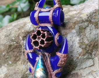 Handmade Glass Honey Comb Pendant