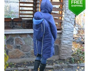 4 in 1 Winter Back Carrier Jacket, Babywearing Jacket, Mum Jacket, Warm Pregnancy Jacket, Back Carrier Coat, Babywearing Coat, 4 in 1 coat