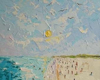 Sunny; Original palette knife oil painting; beach painting; ocean painting; impressionism painting