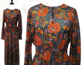 Floral Print Maxi Dress with Peplum - Fall Forest Green with Orange Red Flowers - Elastic Waist, Long Sleeves, Covered Buttons - Vintage 70s