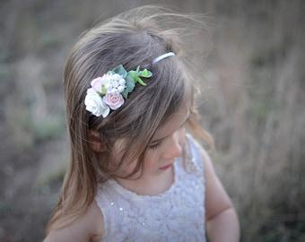 Flower headband, newborn headband, baby headband, boho headband, flower crown, flower girl headband, baby photo prop, blush headband