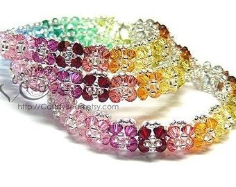Rainbow bracelet; crystal bracelet; Swarovski bracelet; Glass bracelet;Bright Color Florals Crystal Bracelets