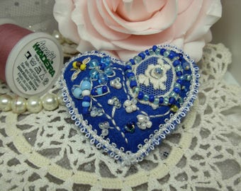 Vintage Lace Felt Brooch 'BEE HAPPY' with Glass beads, Swarovski Crystals , embroidery & braid .Blue heart Brooch