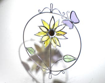 Sunny Delight - 3D Stained Glass Nature Spinner - Mini Spinning Sunflower Butterfly Wire Suncatcher Ornament Home Decor (READY TO SHIP)