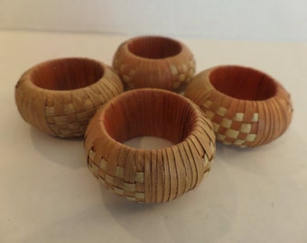 Vintage Woven Napkin Rings Set of 4