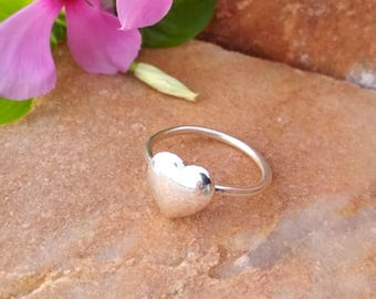 Sterling Silver Heart Ring - Sterling Silver Blank Ring - Handmade Ring - Beautiful Silver Ring