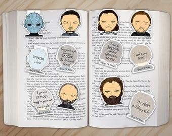 King in the North Magnetic Bookmarks Set - Jon Snow, Samwell, Night King, Littlefinger, Davos, Tormund Giantsbane Clips