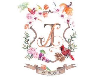 Watercolor Crest, Custom Heraldry, Hand Painted for Invitations, Stationary, Print, Digital