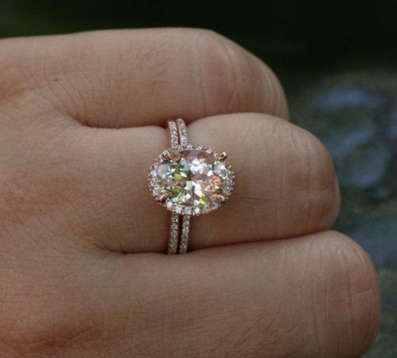 Morganite Engagement Ring Diamond Wedding Ring Set in 14k Rose
