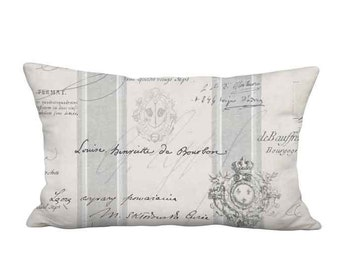 12x20 Inch - READY TO SHIP - Linen Cotton Lumbar Grey French Country Famous France Signature Script Pillow - Lumbar Cushion Cover