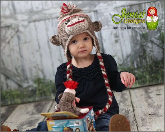 Crochet Pattern Sock Monkey Hat For Baby Toddler Child Teen