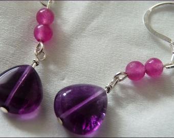Purple Passion Earrings -- Deep Purple Fluorite, Purple Agate, Sterling Silver