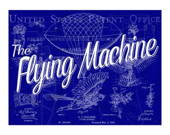 Flying Machine Blueprint Metal Sign for decorating study, mancave, Airport, or Airplane