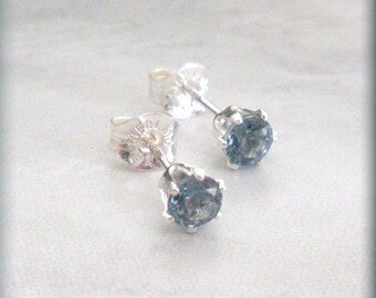 December Birthstone Earrings, Sterling Silver, Posts, Studs, Blue Zircon Earrings, Birthday Gift, Small Earrings, Little, Gift for Her
