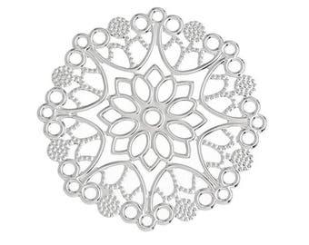 10 PRINTS EDGED RAW BRASS FILIGREE FLOWER SILVER GREY METAL 35MM COLOR * A161