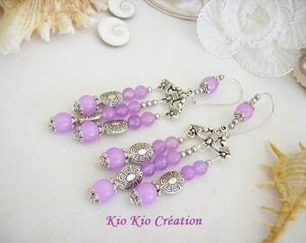 Pearl drop earrings, ethnic, purple glass, Pearl, Tibetan silver, triangle chandelier hook, whimsical jewelry, women's fashion