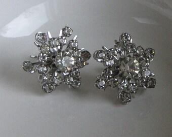 CORO Rhinestone Snowflake Earrings Screw on Backs Vintage Holiday Jewelry and Accessories