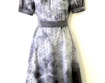 Apocalyptic Zombie Baby Doll Black & Grey Crush Dye Floral Broidere Anglaise Dress ~ Size AU 6 - 8 US 4 - 6 ~ Gothic Prairie Memento Mori