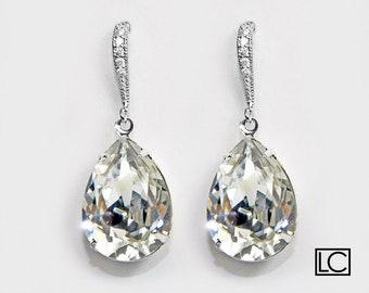 Clear Crystal Teardrop Bridal Earrings Swarovski Rhinestone Silver Cz Dangle Earrings Sparkly Wedding Earrings Bridesmaid Crystal Jewelry