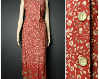 80s 90s burgundy red + cream leaf + floral print calf length sleeveless dress asymmetrical  button down dress U.K 14 M L