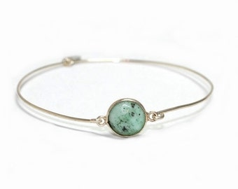 Womans Sterling silver gem bracelet, Chrysoprase, light green, artisan,boho,semiprecious,narrow,bangle, gem,free worldwide shipping!