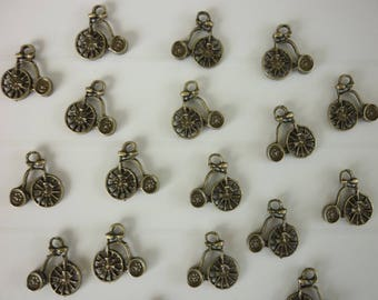 5 old bicycle bike bronze charm