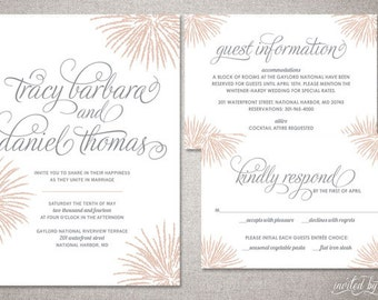 """Firework Inspired """"Tracy"""" Wedding Invitation Suite - Whimsy Modern Calligraphy Script Invitations - DIY Digital Printable or Printed Invite"""