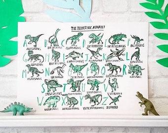 The Prehistoric Alphabet A3 Risograph Print