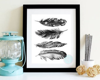 PRINTABLE ART Black Feather Feather Print Art Feather Printable Feather Feather Art Feather Wall Decor Black Feather Print Nursery Art