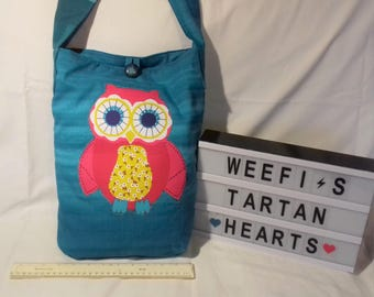 Original design, polycotton tote / shopping / market bag with owl applique on the front