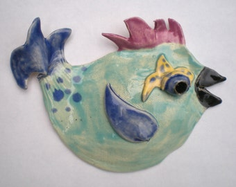 Hand sculpted Clay Bluebird with Dots