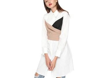 Kuppers Cotton Shirt Dress. Color block tunic dress. Spring 2018 New Womens clothing. Minimalist dress. Stylish shirt.White cotton dress.