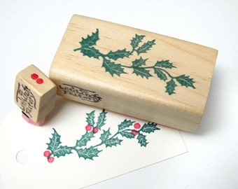 Hand Carved Rubber Stamp, Holly Leaves set of 2