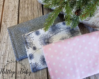 Pink and Gray Burp Cloth, Personalized baby, Dandelion baby, Girl Burp cloth, Pink and Gray Baby, Burp cloth Set, dandelion print