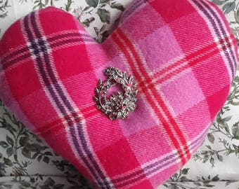 Pink Tartan Valentine Heart Pillow