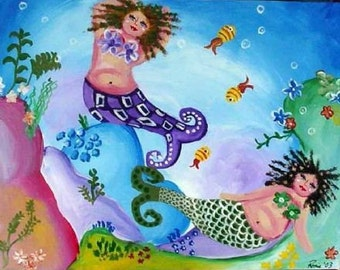 Two Colorful Mermaids Whimsical Folk Art Giclee Print