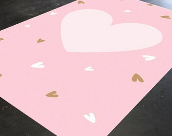 Pink Rug Heart Rug Nursery Rug Baby Girl Room Girls Rug