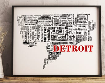 Detroit Map Art, Detroit Art Print, Detroit Neighborhood Map, Detroit Typography Art, Detroit Wall Decor, Detroit Moving Gift