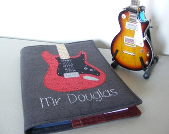 A5 Fabric Notebook Cover with Guitar design by RubyPatch