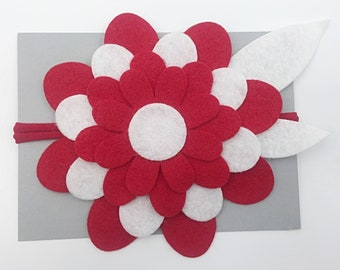 Large Red and White Bloom Headband