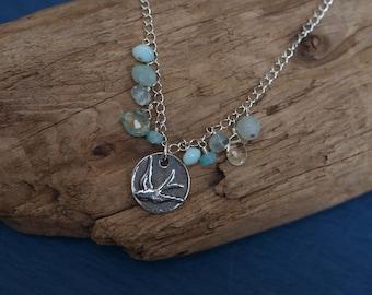 Sterling Silver Bird Charm/Gemstone Necklace