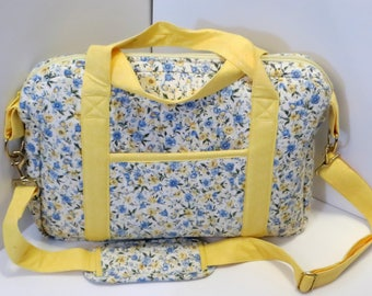 Crossbody Quilted Laptop Bag Yellow and Flowers