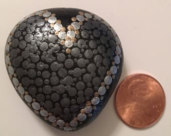 Hand painted rock - Gun Metal Heart