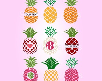 SVG Pineapple Monogram Frame Svg Cut Files, Svg files for Cricut, Cut files for Silhouette and other Vinyl Cutters, Vector Design, Svg files