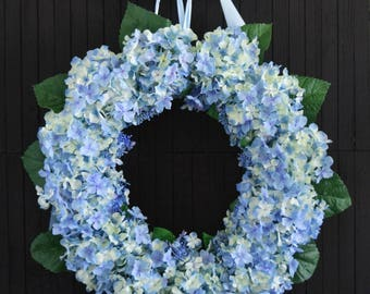 "Blue Hydrangea Spring Summer Front Door Wreath - 22"" Diameter"