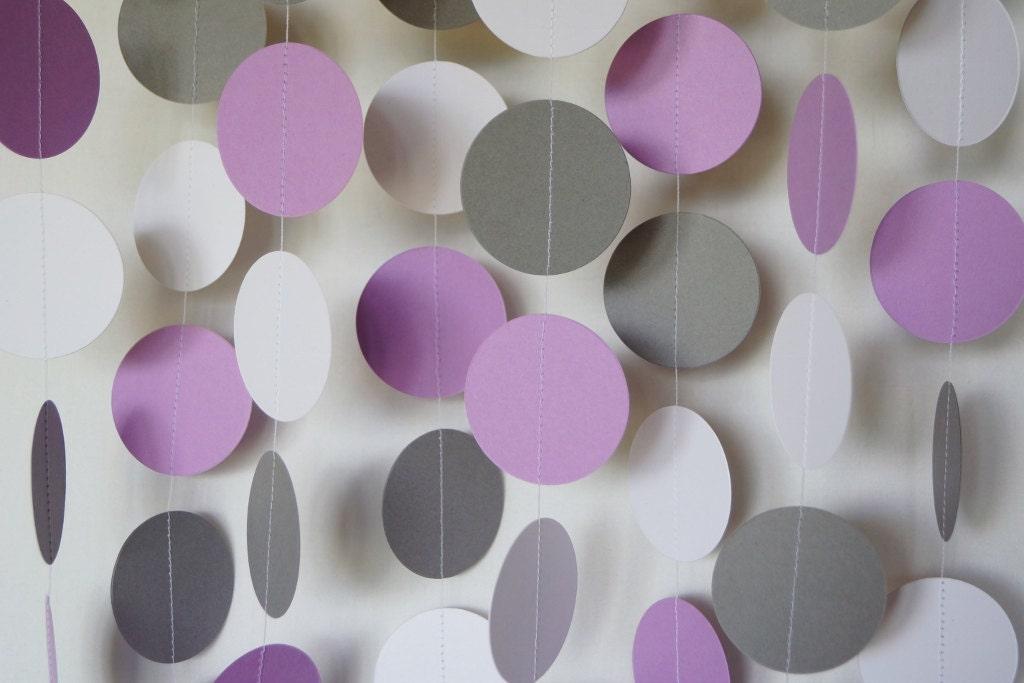 Popular Purple Gray and White Paper Garland Dark Lavender Wedding VF36