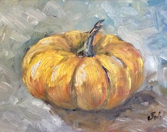 Pumpkin oil painting original art 5 x 7""