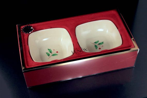 Square Dipping Bowls, Lenox Holiday, Set of 2, New In Box, Holly, Gold Trimmed, Holiday Gift